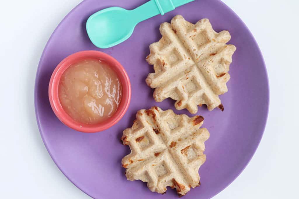 mini whole wheat waffles on purple plate