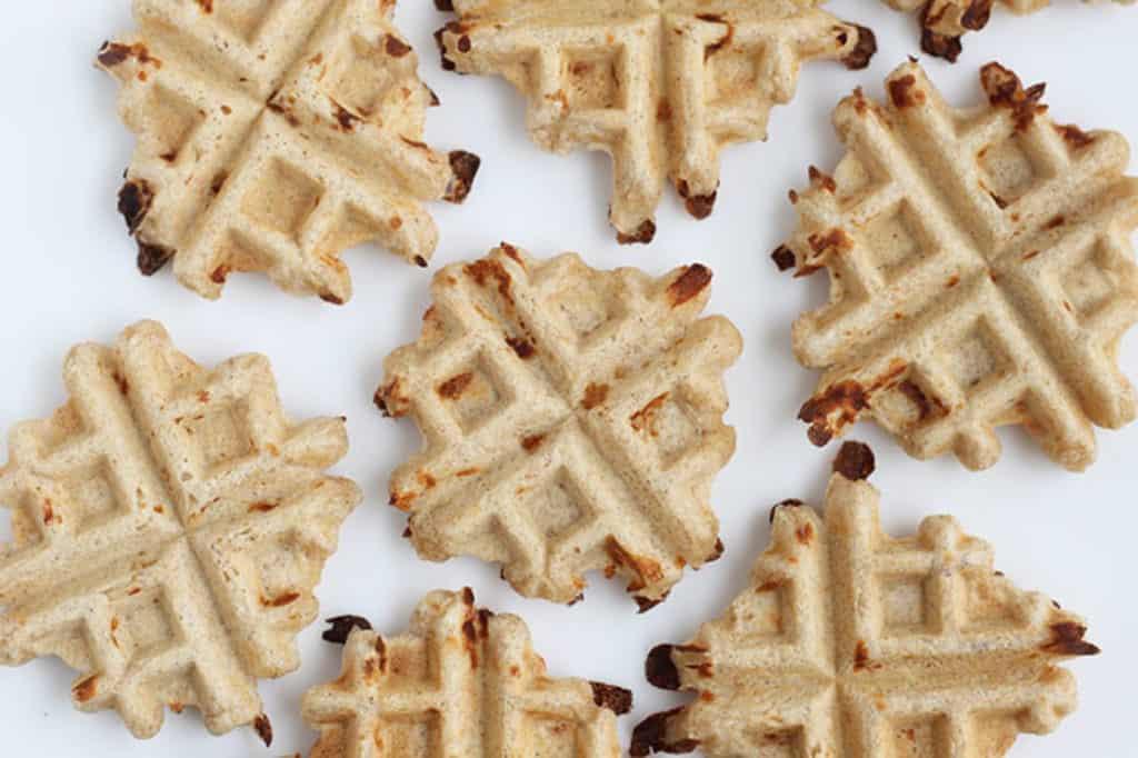 mini whole wheat waffles on white cutting board