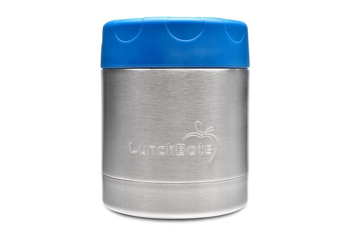 lunchbots thermos with blue lid