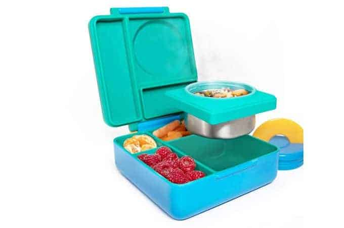 omiebox teal kids lunchbox with thermos compartment