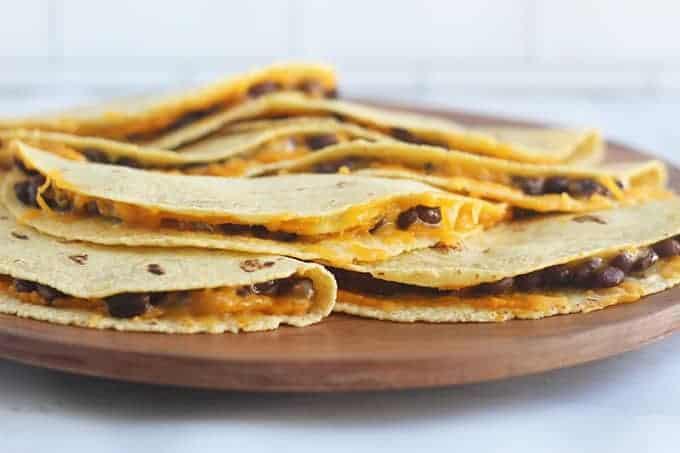 black-bean-quesadillas-on-brown-plate