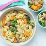 butternut-squash-pasta-in-white-bowl-and-teal-bowls