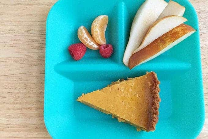 kids plate with pumpkin pie and pear slices