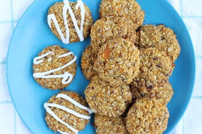 sweet potato cookies on blue plate