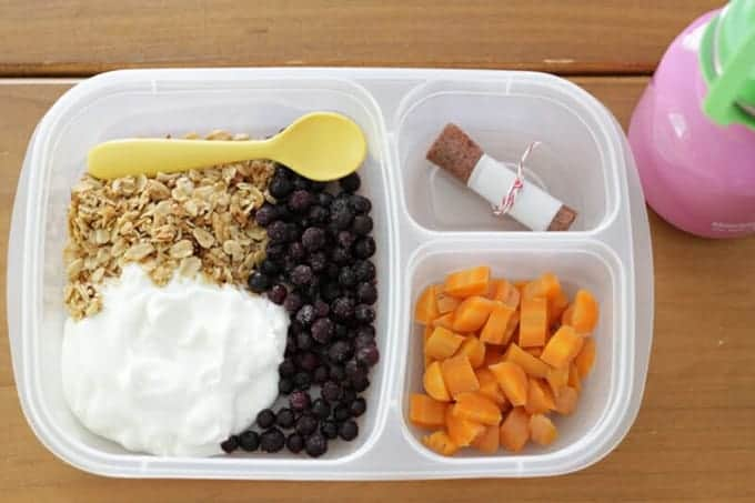 toddler lunch with yogurt, granola and carrots
