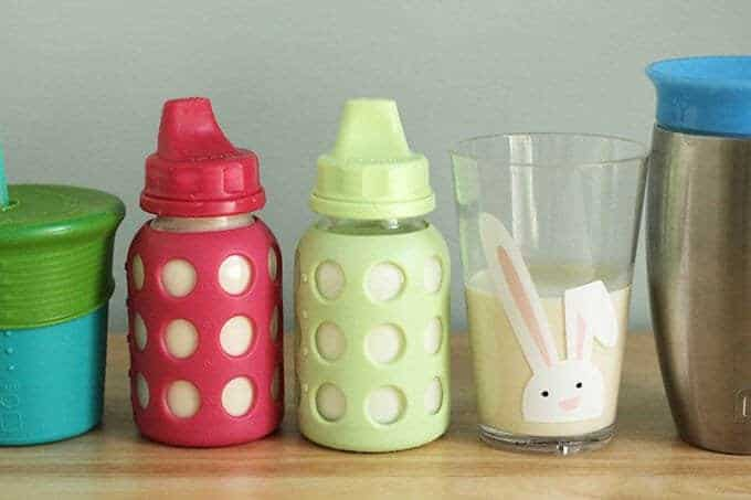 milk for toddlers in sippy cups, open cups and stainless steel sippy cups