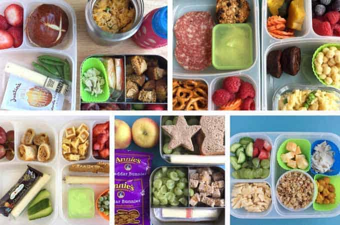 toddler lunch ideas in grid with lunchboxes