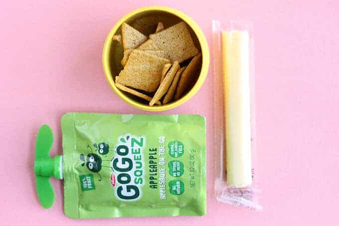 toddler snack of applesauce and crackers