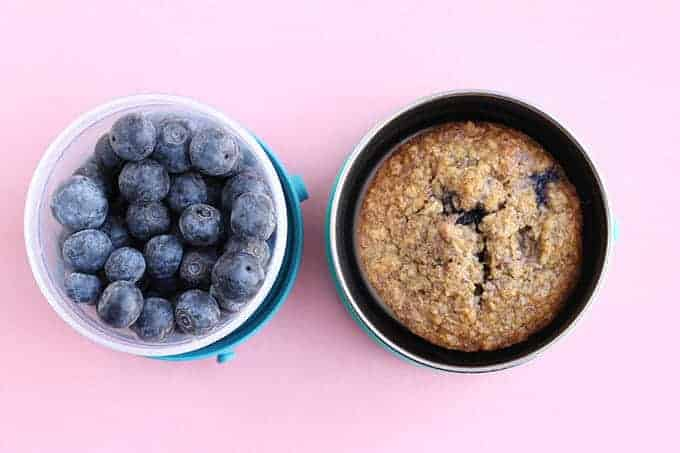 toddler snack of blueberries and muffin