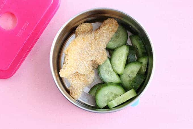 toddler snack of leftovers and cucumbers