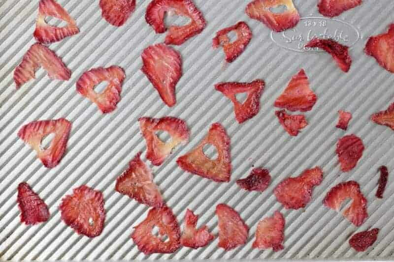 oven-dried strawberries on baking pan