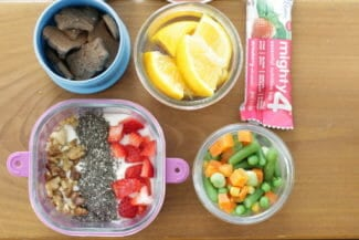 Toddler Lunch: Yogurt with Fruit, Vegetable Medley