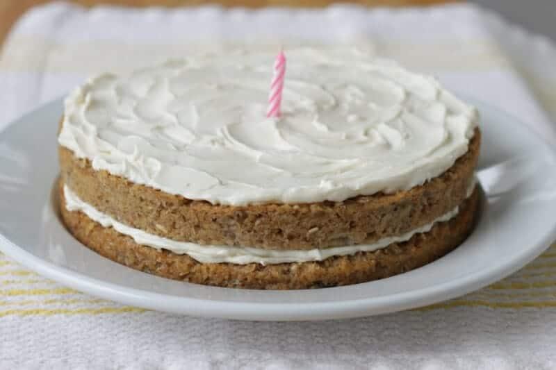 banana birthday cake with cream cheese frosting