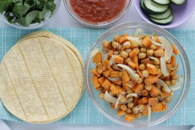 Roasted Veggie Tacos with Chickpeas