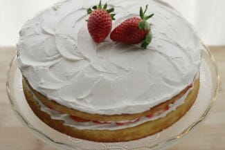 Lower Sugar Vanilla Birthday Cake with Strawberry Frosting