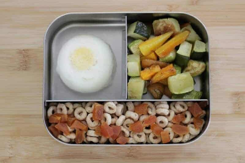 Toddler Lunch: Hard-Cooked Egg, Roasted Veggies, Cereal Mix