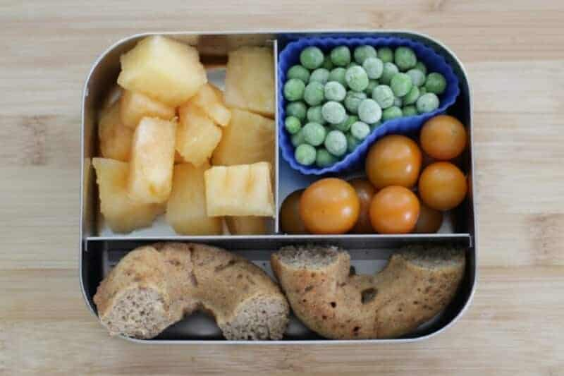 Easy Toddler Lunch: Baked Donut and Fresh Sides
