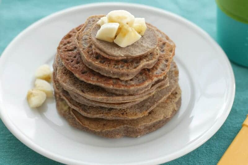 stack of vegan banana pancakes