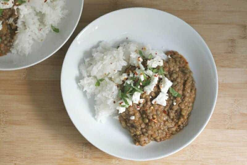 lentil soup with tomatoes and rice