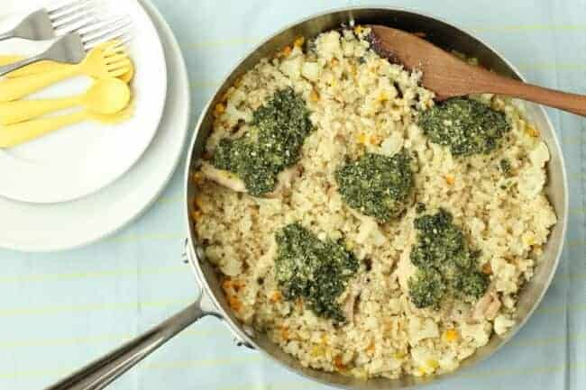 skillet brown rice and chicken pesto