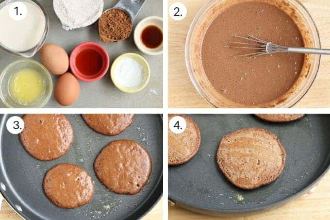 how to make chocolate pancakes step-by-step