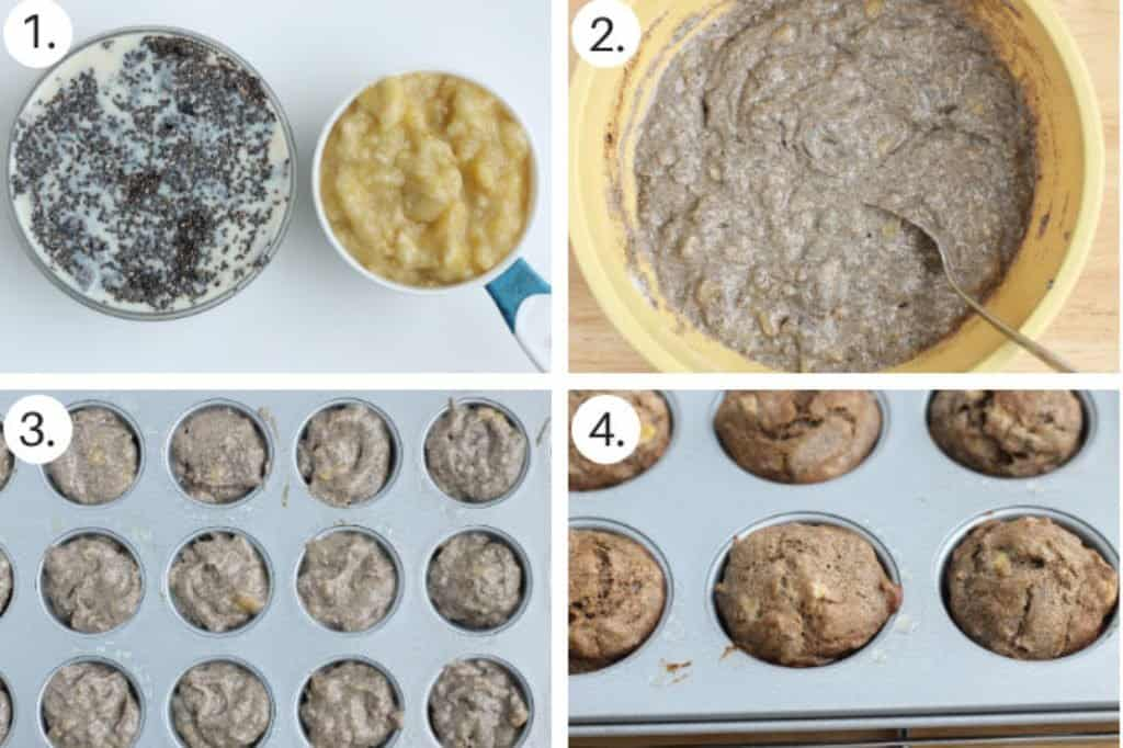 how to make vegan banana muffins step by step process