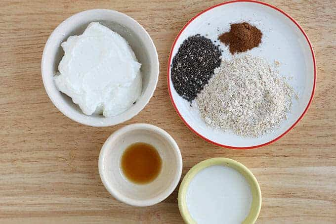 ingredients for overnight oats with yogurt n bowls