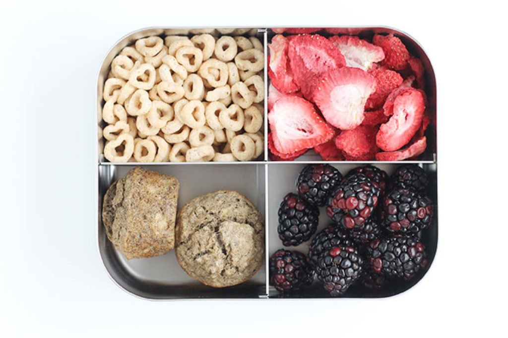 toddler lunch box with berries and muffins