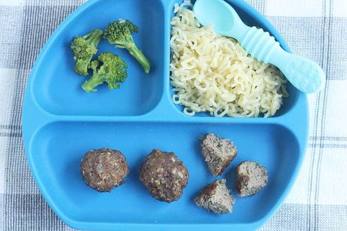 mini-meatballs-on-blue-divided-plate