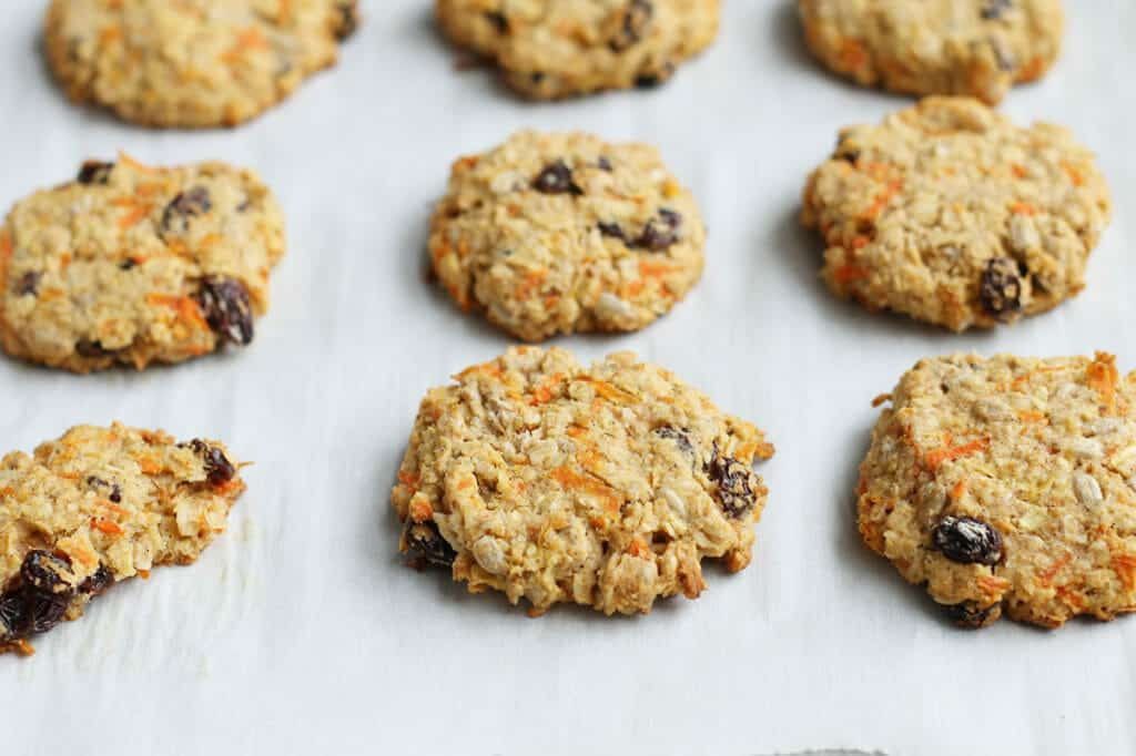 healthy oatmeal cookies without eggs just baked on baking sheet