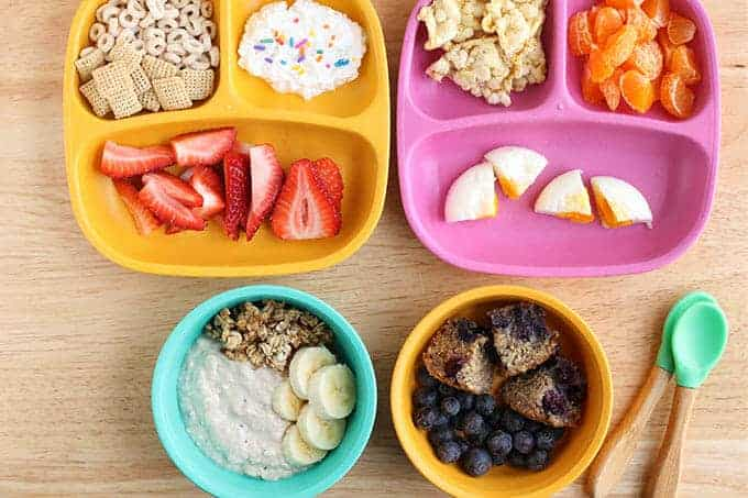 4 toddler breakfast ideas including cereal, eggs, overnight oats, and muffins