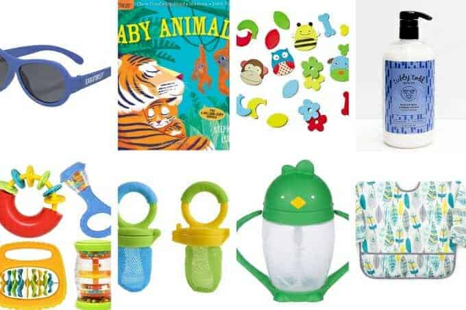 easter basket ideas for babies including sunglasses, books, lotion, silicone feeder