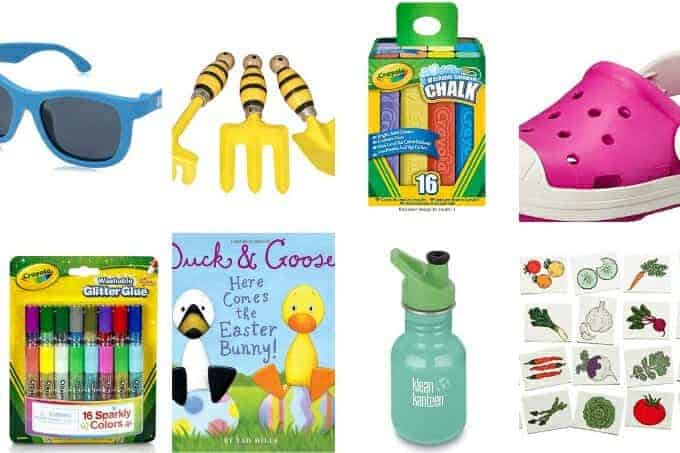 easter basket ideas grid including sunglasses, chalk, shoes, and books