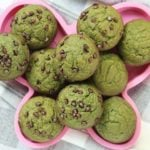 spinach banana muffins on pink plate