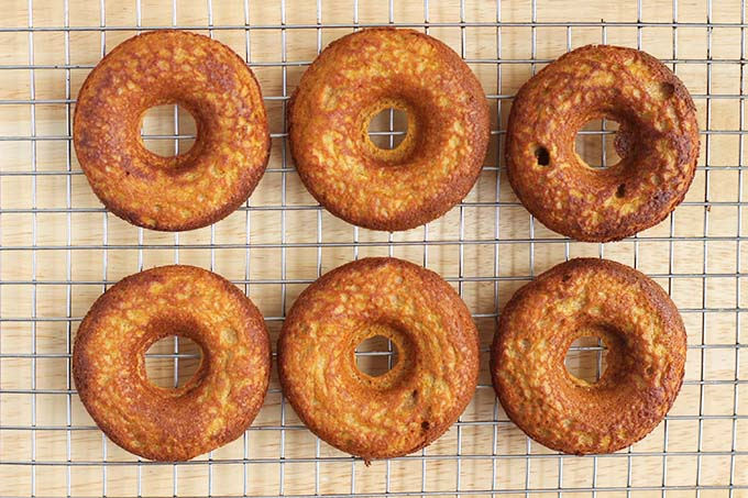 sweet potato donuts on wire rack