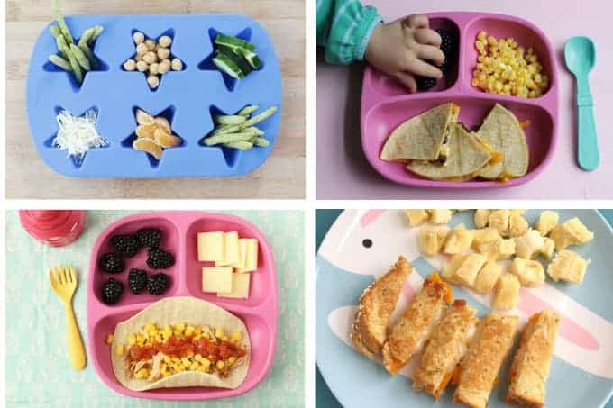 4 toddler meals in grid with snack plate and quesadillas