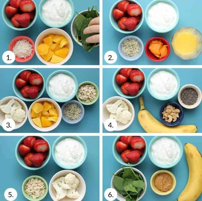 how to make strawberry smoothies in grid of 6