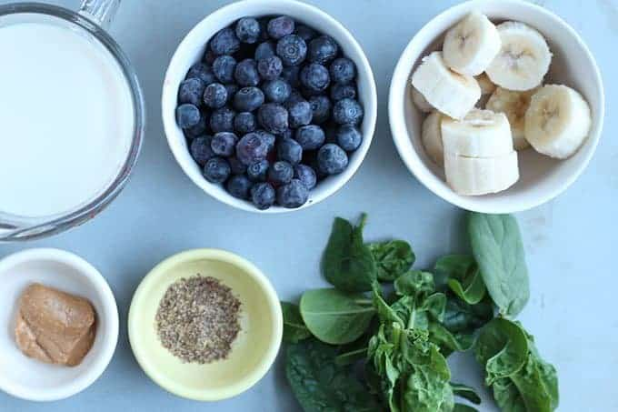 ingredients in blueberry banana smoothie