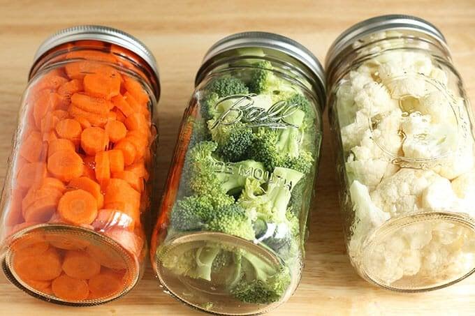 cleaned vegetables in mason jars