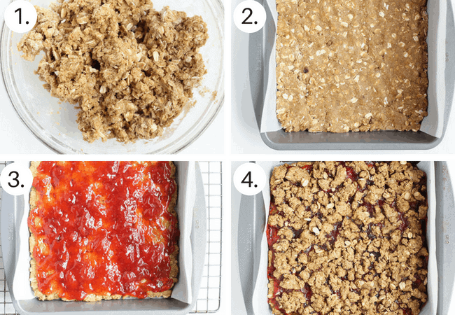 how to make strawberry oatmeal cookie bars step by step