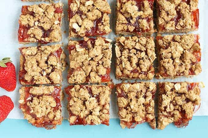 Whole Grain Strawberry Oatmeal Cookie Bars