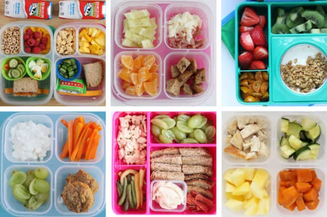 6 toddler daycare lunches in grid