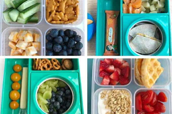 toddler lunch ideas in teal and clear lunchboxes grid