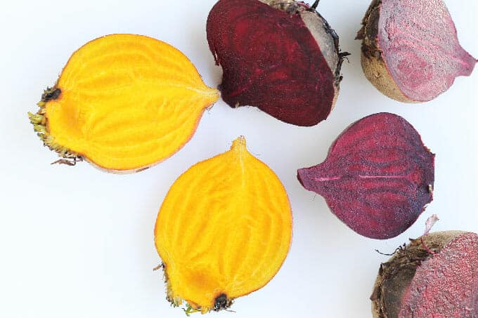 fresh beets in golden and red