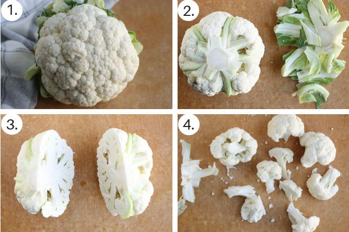 how to chop cauliflower to steam step by step