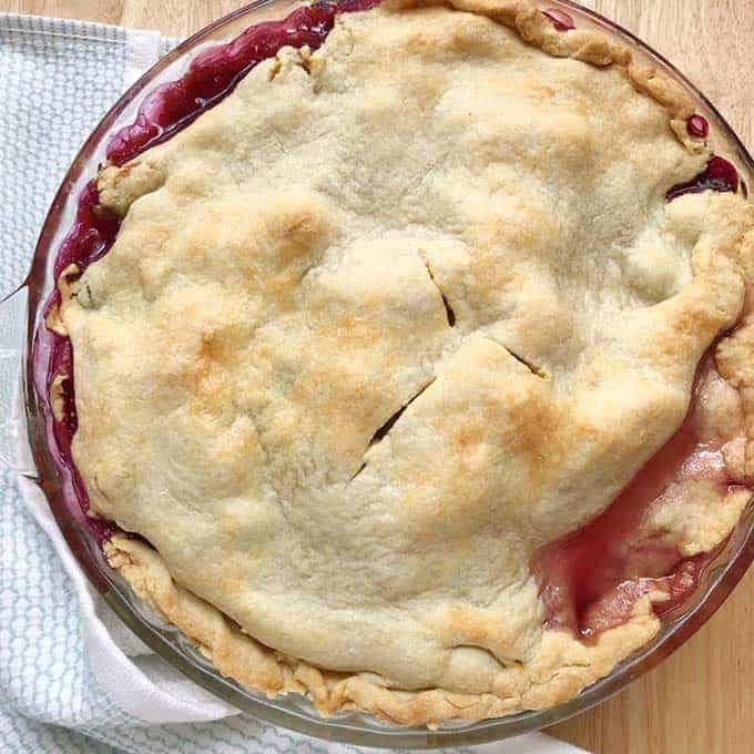 homemade blueberry peach pie