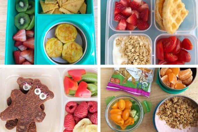 breakfast for lunch ideas for kids in grid of 4