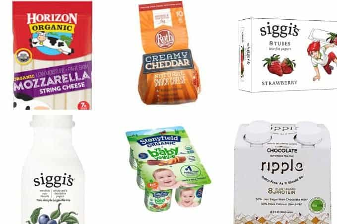 healthy dairy snacks in grid of 6