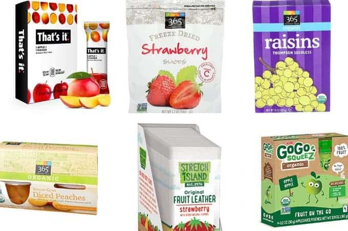 healthy kids fruit products in grid of 6