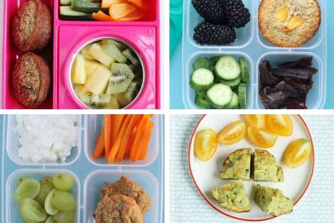 lunch ideas for kids with muffins in grid of 4